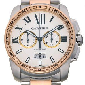 CARTIER Calibre de Cartier 18K Pink Gold Steel Automatic Mens Watch W7100042