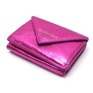 Balenciaga Paper Mini Compact Wallet Metallic Pink