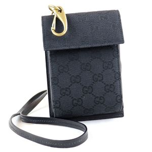 GUCCI GG canvas leather mini shoulder bag cross pouch gold metal fittings