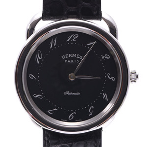 HERMES Hermes Arseau back scale AR7.710GI men's leather watch automatic winding black dial