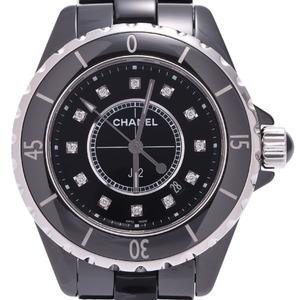 CHANEL シャネル J12 33mm 12Pダイヤ H1625 ボーイズ 黒セラミック 時計 クォーツ 黒文字盤