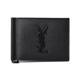 Yves Saint Laurent Money Clip Wallet Men's Monogram Bill 485630 Black