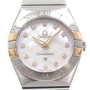 OMEGA Constellation Diamond MOP Dial 18K Gold Steel Quartz Ladies Watch 123.20.24.60.55.006