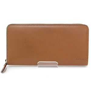 Paul Smith Old Leather Round Zipper Wallet Brown 873215 Multi Stripe
