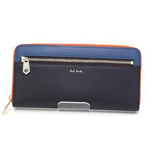 Paul Smith Round Zip Long Wallet Leather Black Blue Orange Block