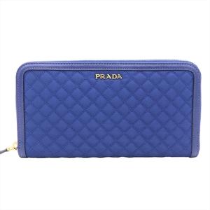Prada 1M0506 Women's Nylon Long Wallet (bi-fold) Blue