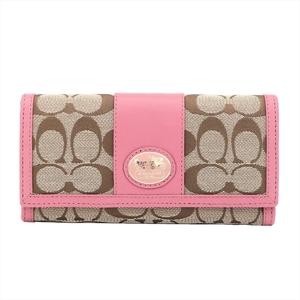 Coach Signature 44001 Women's PVC,Leather Long Wallet (bi-fold)