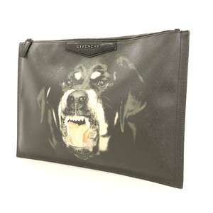 Givenchy GIVENCHY Rottweiler Black Leather Clutch Bag Dog Ladies Men