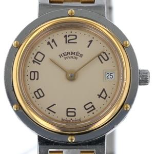 エルメス HERMES クリッパー デイト コンビ 701510NL クォーツ ベージュ文字盤 レディース 時計