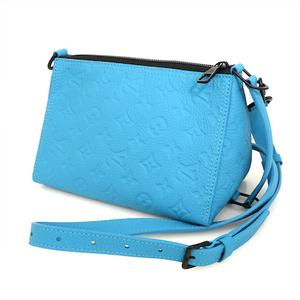 Louis Vuitton LOUIS VITTON Turquoise Blue Taurillon Leather Triangle Messenger M55925 2way Bag