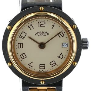 エルメス HERMES クリッパー デイト コンビ アラビア クォーツ ベージュ文字盤 レディース 時計