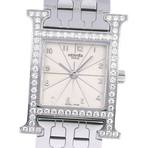HERMES H Watch Diamond Stainless Steel Quartz Ladies Watch HH1.230