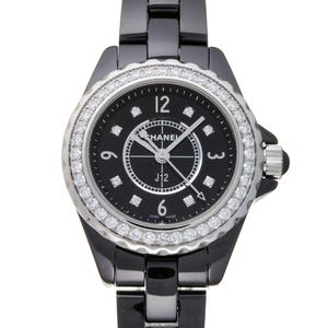 Chanel J12 29mm Bezel 8P Diamond Ladies Watch H2571 Ceramic Black Arabian Dial