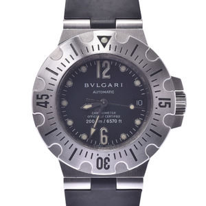 BVLGARI ブルガリ ディアゴノ プロフェッショナル SD42S メンズ ラバー 時計 自動巻き 黒文字盤