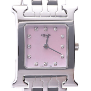 HERMES H Watch Diamond Pink MOP Dial Steel Quartz Ladies Watch HH1.210