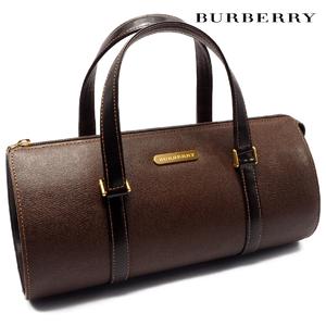 Burberry Bag Handbag Mini Boston Check Logo Plate Leather Unisex