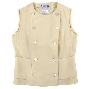 Chanel Vintage vintage 98C No color vest Double breasted Cocomark button Ladies 36 Ivory