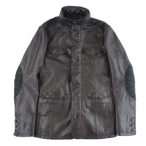 Emporio Armani EMPORIO ARMANI switching leather jacket Jean Elbow patch high neck hood storage men's 46