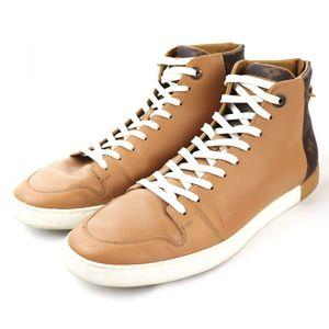 Louis Vuitton Monogram switching leather high cut sneakers back zip logo men's 7.5 beige / brown