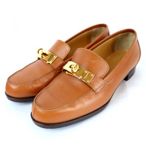 Hermes Kelly Loafer Leather Shoes Ladies 35.5 Gold