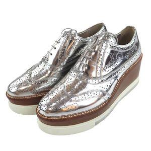 Miu miu Platform Wing Tip Leather Shoes Wood Ladies 38 Silver