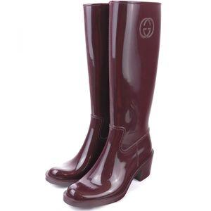 Gucci Rain Boots Rubber Interlocking GG Mark Ladies 36 Bordeaux