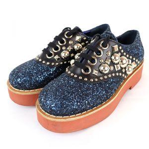 Miu miu glitter studs decoration leather shoes platform ladies 36.5 navy / black