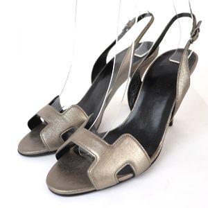 Hermes slingback leather heel H sandals ladies 35 silver