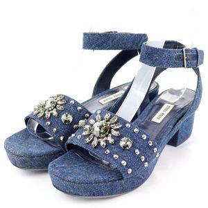 Miu miu denim crystal ankle strap sandals chunky heel ladies 35.5 navy