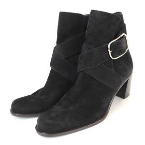 Hermes Suede Appi Strap Heel Boots Booties Ladies 37