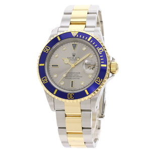 ROLEX Submariner 16613SG K Serial 18K Gold Steel Automatic Mens Watch