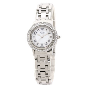 HERMES Clipper Diamond MOP Dial Steel Quartz Ladies Watch CP1.230