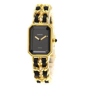 CHANEL Premiere Size M Gold Plated Leather Quartz Ladies Watch H0001