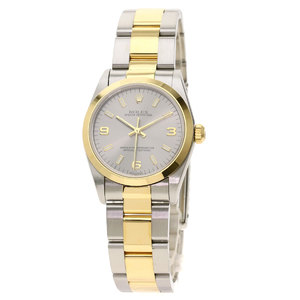 ROLEX Oyster Perpetual 77483 A Serial 18K Gold Steel Automatic Mid Size Watch