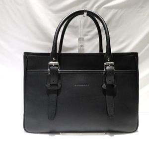 Burberry Business Bag Black Leather Handbag Men's