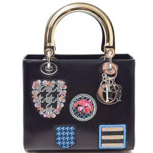 Christian Dior Dior Lady Wappen Bijou 2WAY Shoulder Leather