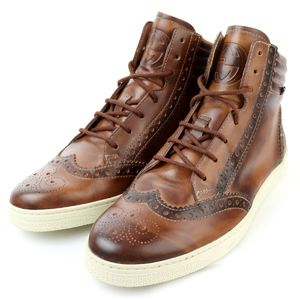 GUCCI Wing Tip High Cut Leather Sneaker Interlocking Webline Men's 5