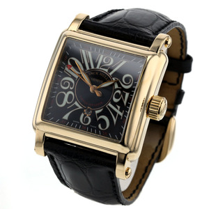FRANK MULLER Conquistador 18K Gold Leather Automatic Mens Watch 10000MSC 3N