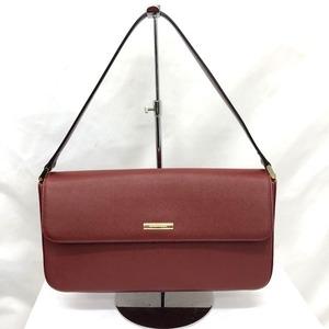 Burberry One Shoulder Bag Red Plate Handbag Leather Women