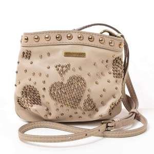 BURBERRY heart motif studs shoulder bag leather