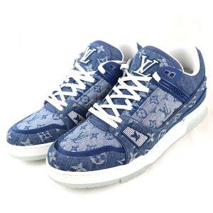 Louis Vuitton 20SS Trainer Line Monogram Denim Sneakers Men's 8 Indigo