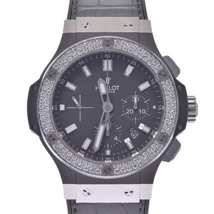 HUBLOT Big Bang Earl Grey Diamond Steel Rubber Automatic Mens Watch 301.ST.5020.GR.1104