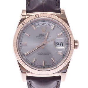 ROLEX Oyster Perpetual Day Date 118135 18K Pink Gold Leather Automatic Mens Watch
