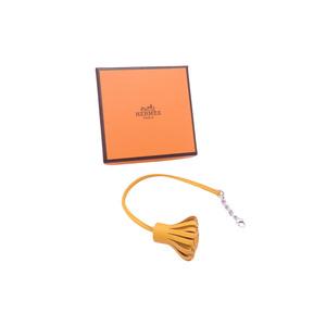 Hermes Bookmark Carmenchita Yellow Orange Leather Silver Hardware Ladies Men