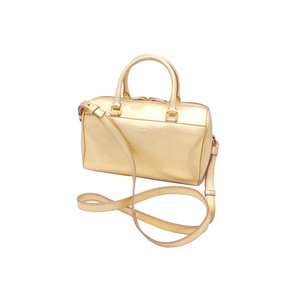 Saint Laurent SAINT LAURENT handbag baby duffel gold leather metal shoulder bag 2Way ladies