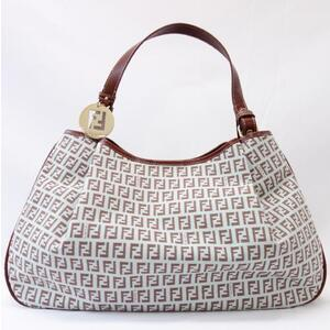 FENDI Shoulder bag Zucchino pattern 8BH220 Light blue Semi-shoulder Half shoulder