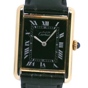 CARTIER Must Tank Vermeil Gold Plated Leather Quartz Ladies Watch