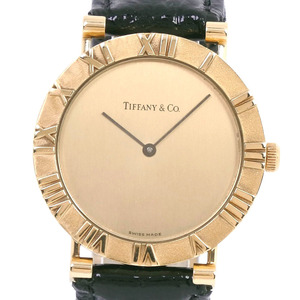 TIFFANY Atlas 18K Gold Leather Quartz Mens Watch D288.753