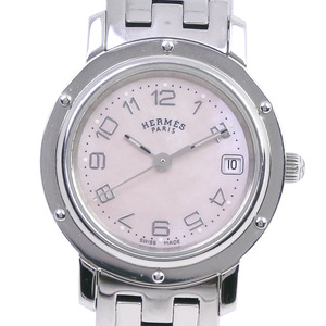HERMES Clipper Pink MOP Dial Stainless Steel Quartz Ladies Watch CL4.210