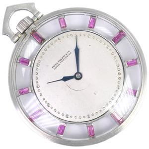 PATEK PHILIPPE Tiffany Double Name Platinum Ruby Hand-Winding Pocket Watch